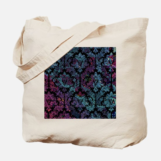 Damask pattern on purple and blue Tote Bag