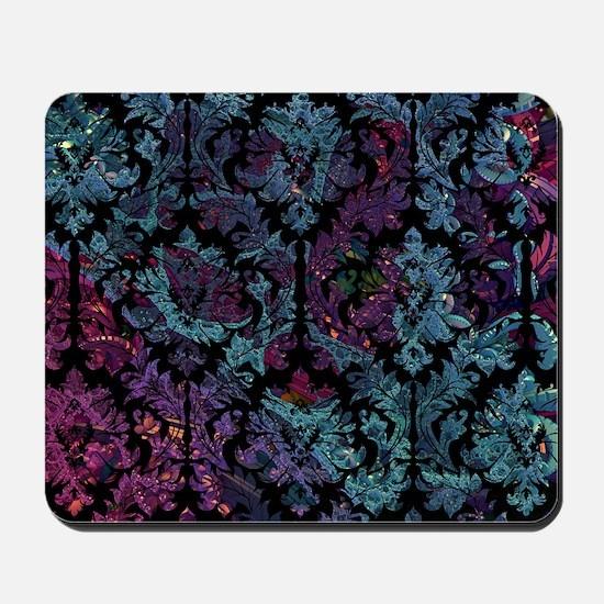 Damask pattern on purple and blue Mousepad