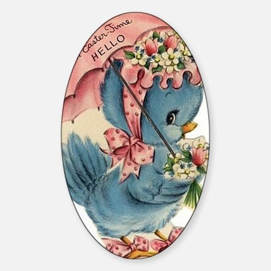 Vintage Easter Blue Bird Bonnet Sticker (Oval)