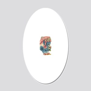 Vintage Easter Blue Bird Bon 20x12 Oval Wall Decal