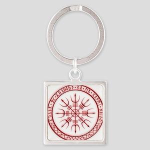 Aegishjalmur: Viking Protection Ru Square Keychain