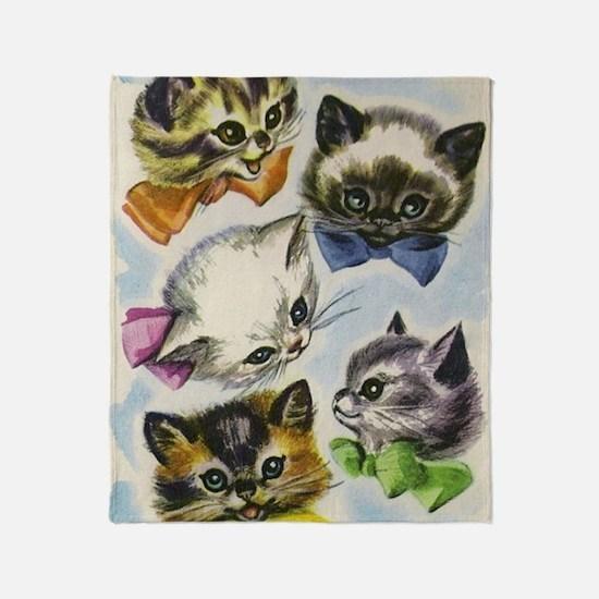 Vintage Kittens in Bow Ties Throw Blanket
