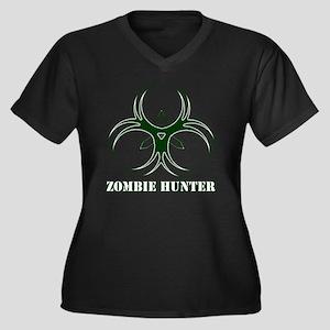 Zombie Hunte Women's Plus Size Dark V-Neck T-Shirt
