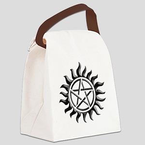 Black iron supernatural pentagram Canvas Lunch Bag
