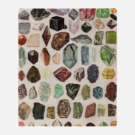 Vintage Geology Rocks Gemstones Throw Blanket
