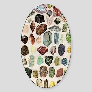 Vintage Geology Rocks Gemstones Sticker (Oval)
