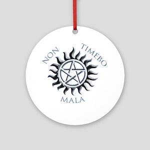 Supernatural Protective Black Penta Round Ornament