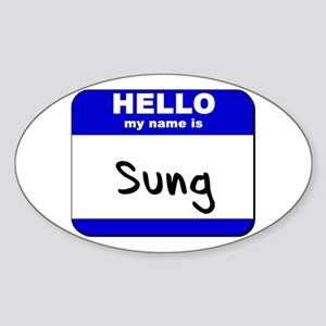 hello my name is sung Oval Sticker