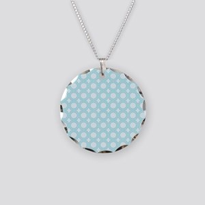 Aqua Geometric Necklace Circle Charm