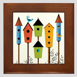BIRD HOUSES FOR BIRDS Framed Tile