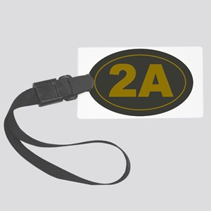 2A Oval_Dark Olive/HE Yellow Large Luggage Tag