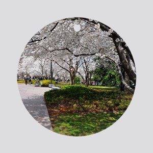Cherry Blossoms 17X15 Round Ornament
