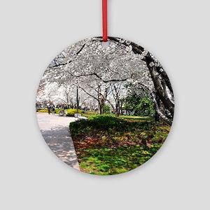 Cherry Blossoms 23X18 Round Ornament