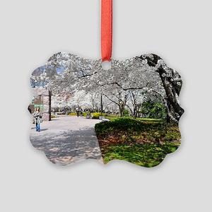 Cherry Blossoms 13X9 Picture Ornament
