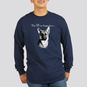 GSD Happy Face Long Sleeve Dark T-Shirt