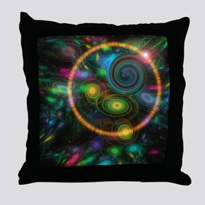 Orange Halo Swirl Cat Forsley Designs Throw Pillow