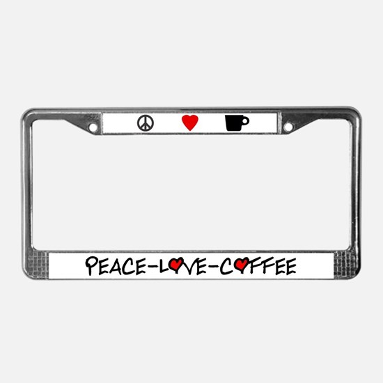 Peace-Love-Coffee License Plate Frame