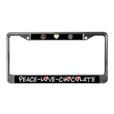 Peace-Love-Chocolate Black License Plate Frame