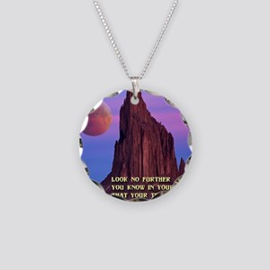 Red Moon at Shiprock Necklace Circle Charm