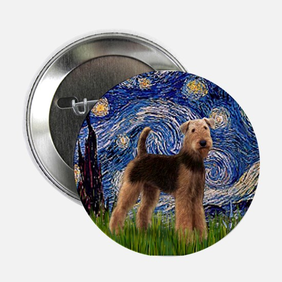 """Starry Night - Airedale #6 2.25"""" Button"""