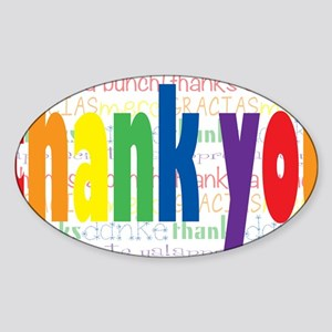 Rainbow Thank You Greeting Sticker (Oval)