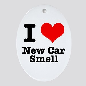 I Heart (Love) New Car Smell Oval Ornament
