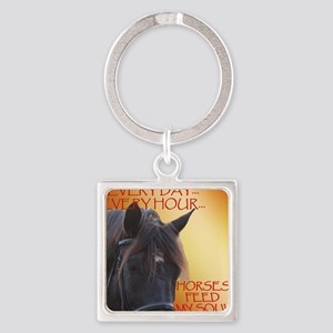 Horses feed my soul Square Keychain