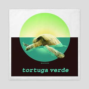GREEN TURTLE N SPANISH Queen Duvet