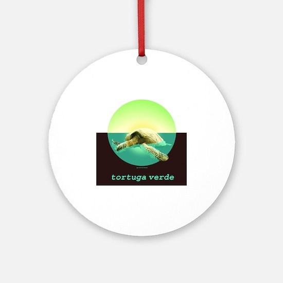 GREEN TURTLE N SPANISH Round Ornament