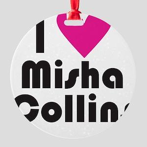 I Love Misha Collins (Pink Heart) Round Ornament