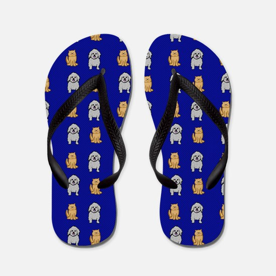 Cute Cats and Dogs Flip Flops