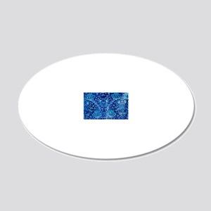 Floral fabric design BLUE 20x12 Oval Wall Decal
