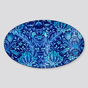 Floral fabric design BLUE Sticker (Oval)