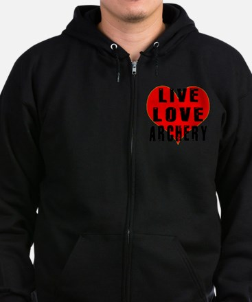 Live Love Archery Designs Zip Hoodie (dark)