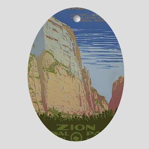 Zion National Park Vintage Poster Oval Ornament