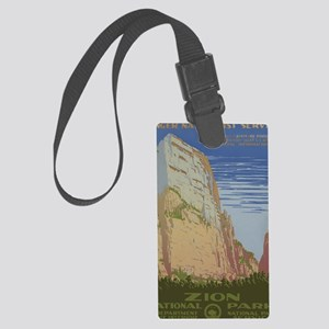 Zion National Park Vintage Poste Large Luggage Tag