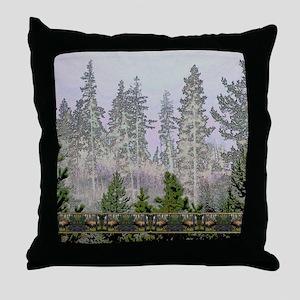 Sunrise forest bull elk Throw Pillow