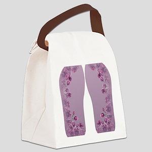 Purple Floral Canvas Lunch Bag