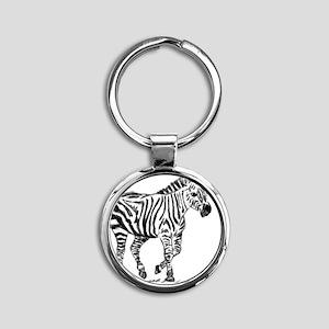 Zebra Round Keychain