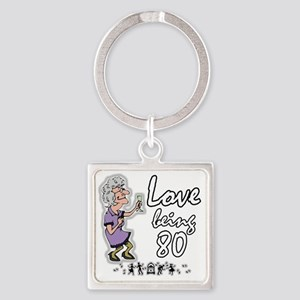 Love 80 Woman Square Keychain