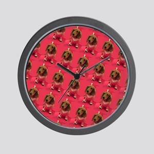 Pink Arizona Dachshund Mirage Designer Wall Clock