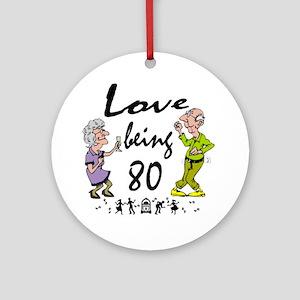 Love 80 Couple Round Ornament