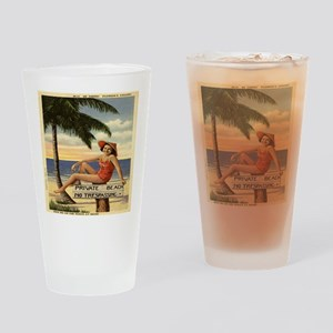 Vintage Woman Private Beach Postcar Drinking Glass