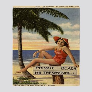 Vintage Woman Private Beach Postcard Throw Blanket