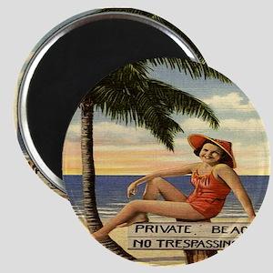 Vintage Woman Private Beach Postcard Shower Magnet