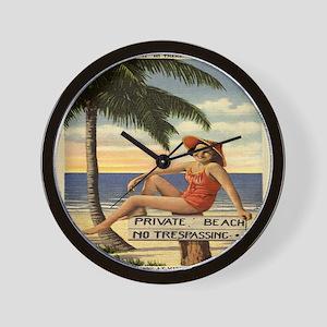 Vintage Woman Private Beach Postcard Sh Wall Clock