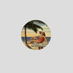 Vintage Woman Private Beach Postcard S Mini Button