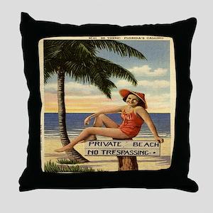 Vintage Woman Private Beach Postcard  Throw Pillow