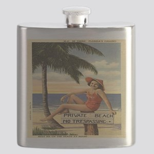 Vintage Woman Private Beach Postcard Shower  Flask