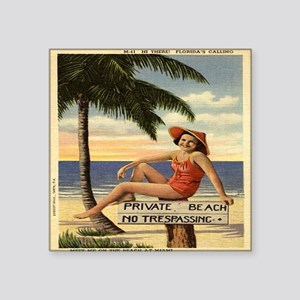 "Vintage Woman Private Beach Square Sticker 3"" x 3"""